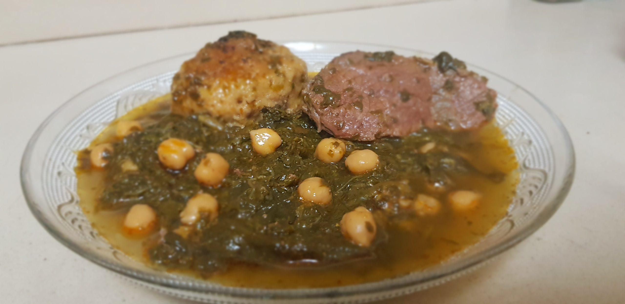 Dafinah algérienne aux épinards et pois chiche et coquela ( recette de ma Mere ZL)